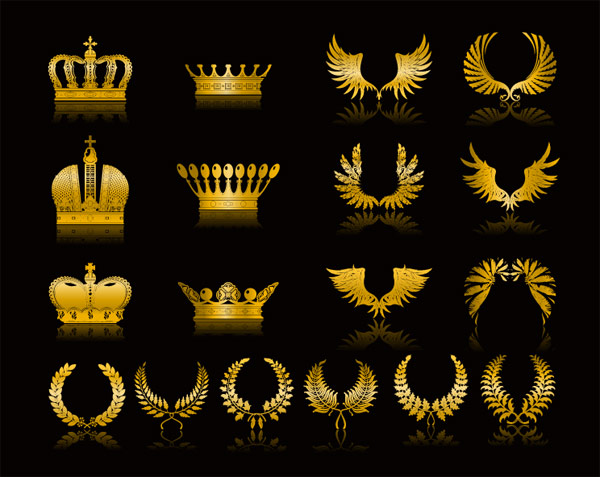 Golden wings wheat crown vector material