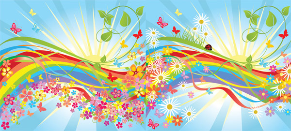 Colorful flower in the world vector material