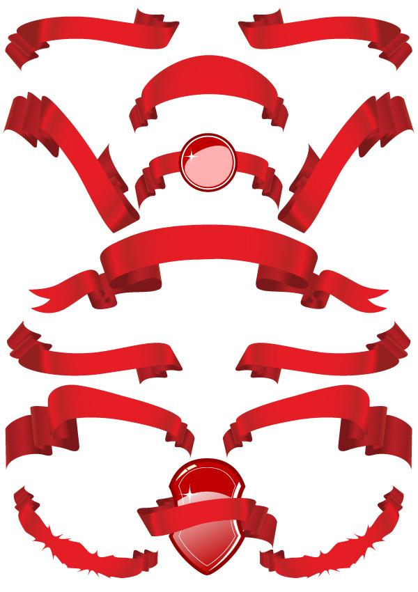 Several red ribbon ribbon vector material