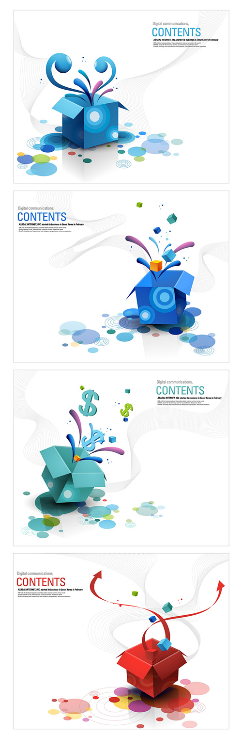 Keyword Fun eruption burst open the box the box element vector