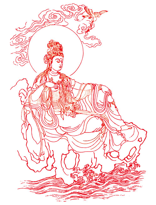Guanyin Bodhisattva line drawing vector material