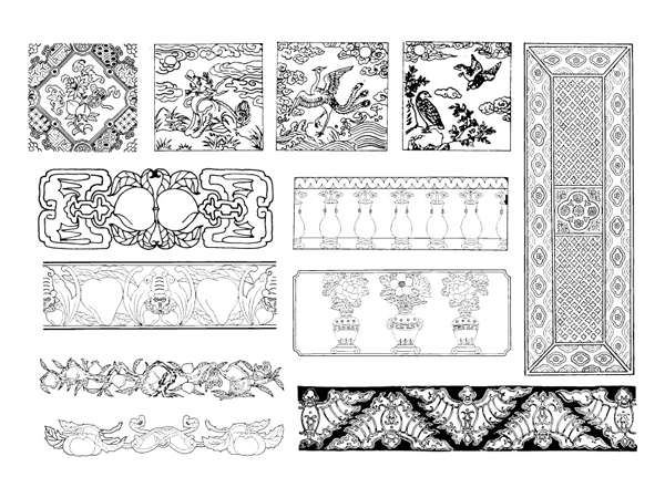 Chinese classical vector of the material 25