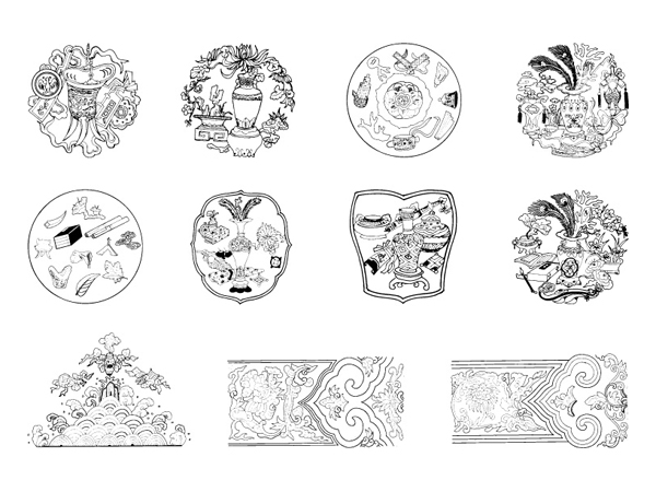 Chinese classical vector of the material 22
