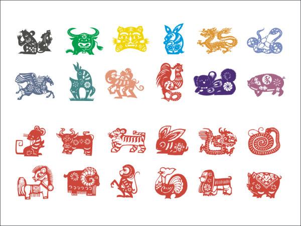 Zodiac of paper-cut vector material (1)