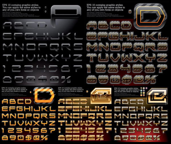 Variety of effects alphabet vector material