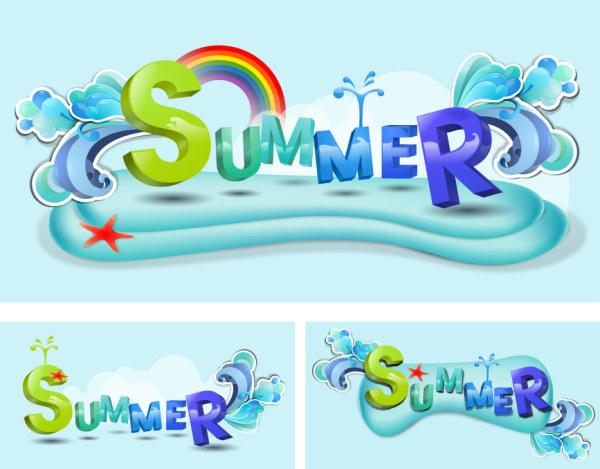 Summer Theme Vector font design material
