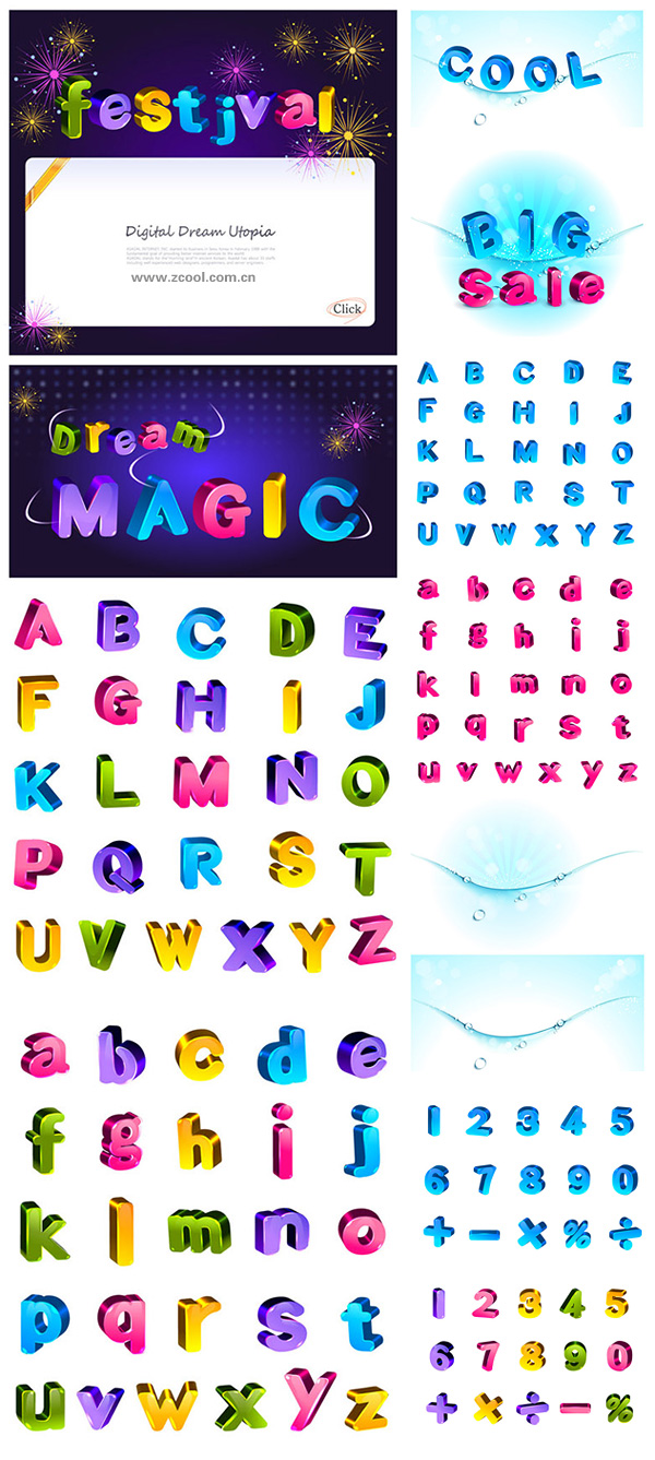 Lovely color three-dimensional letters and numbers vector material