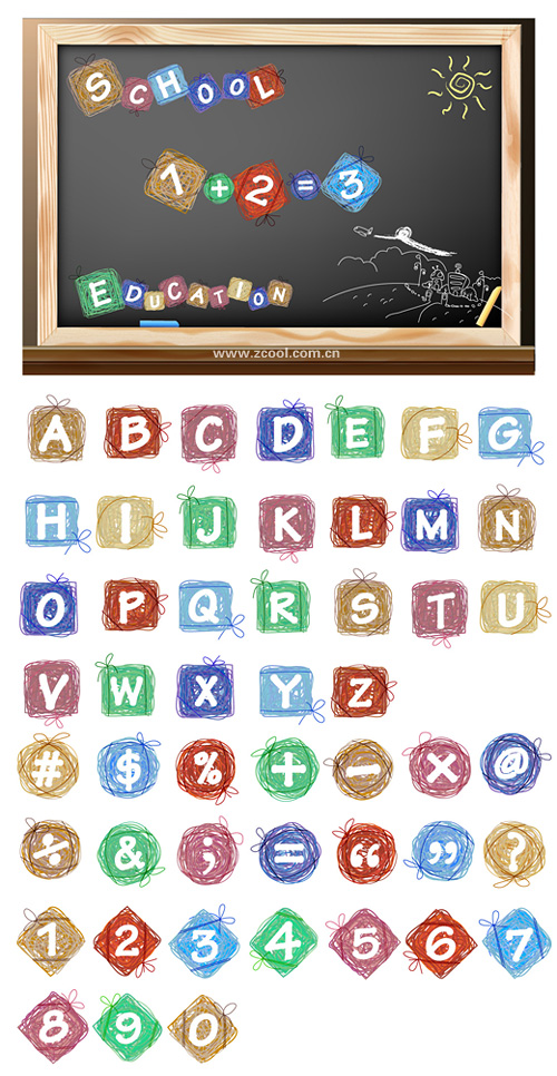 Cartoon effect of the letters and figures vector material