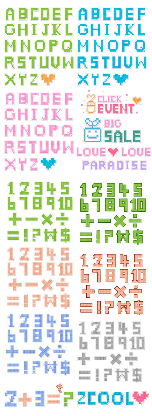 Pixel style letters and numbers vector material