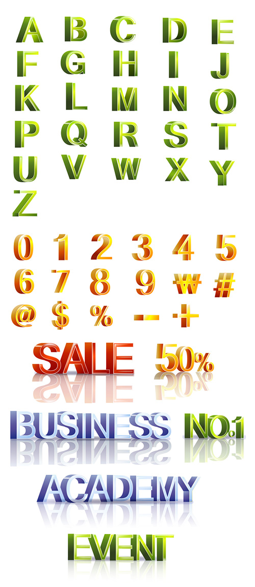 Letters and three-dimensional digital vector material