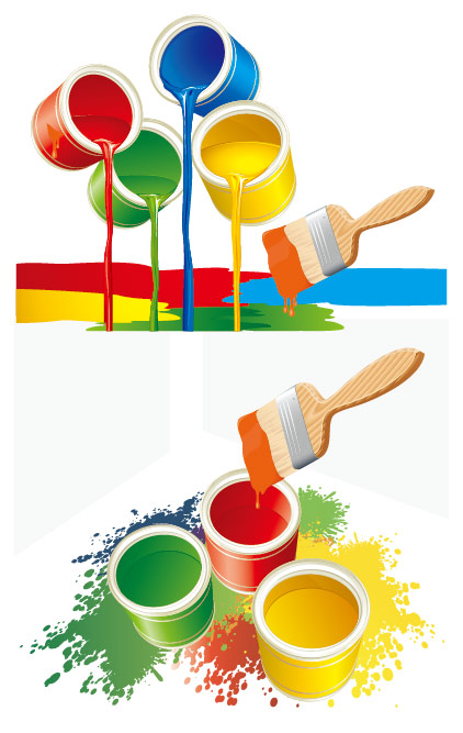 Colorful bucket vector material