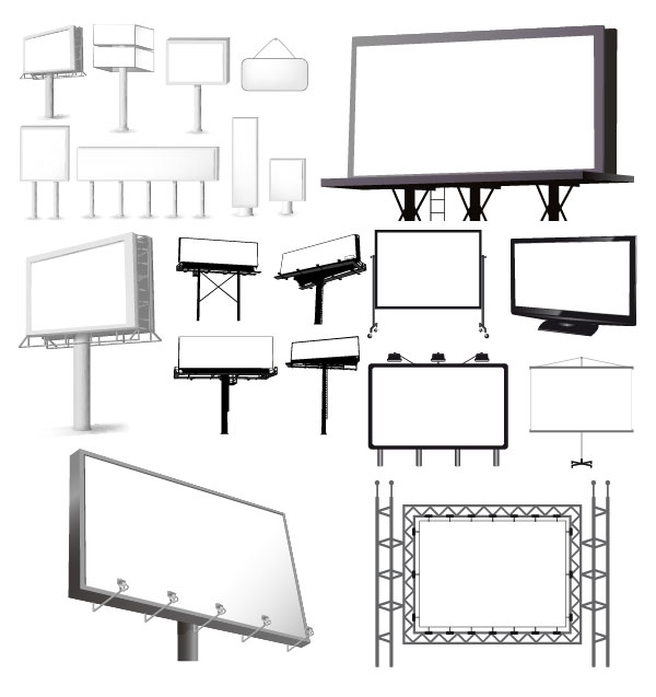 Variety of types of outdoor billboard template vector material