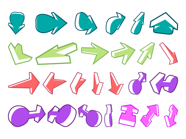 A variety of arrows and other vector material of two