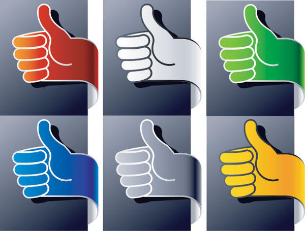 Vertical thumb gesture Ribbon Vector material