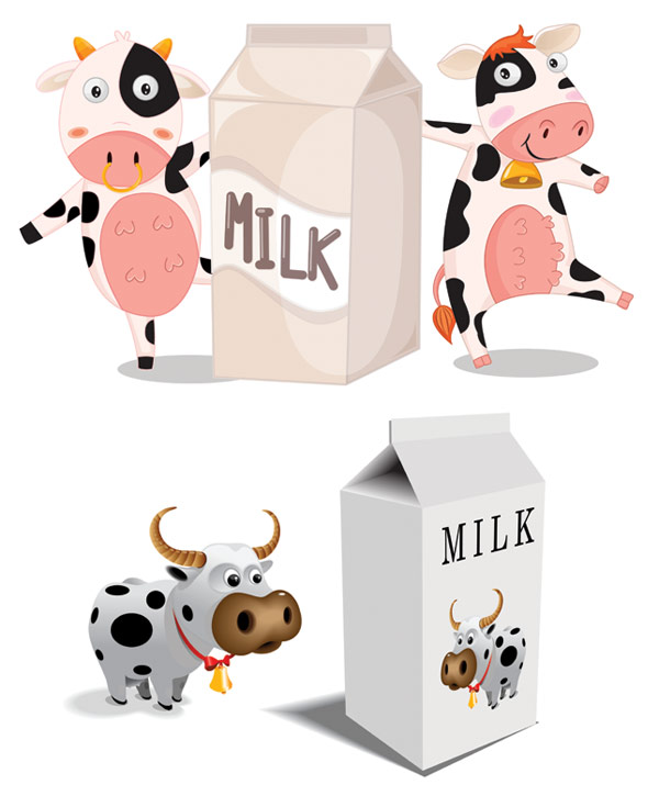 Cartoon cow milk cartons and vector material