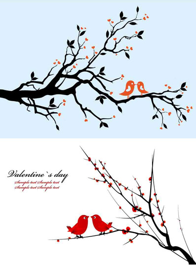 Branches on a pair of birds vector material