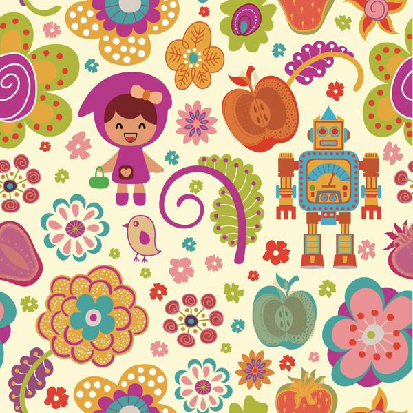 Cartoon flower pattern vector material