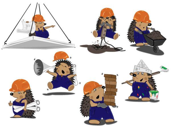 Lovely hedgehog builder vector cartoon