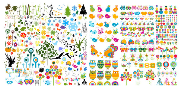Cute animals and plants vector material