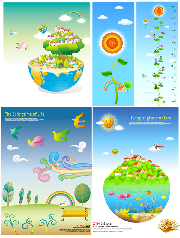 X1942? STYLE? 5 paragraph adorable fresh material vector illustration