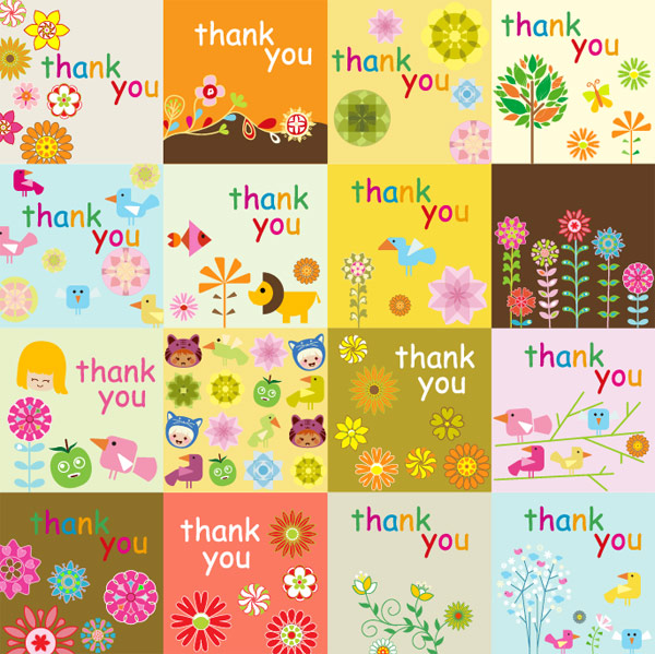 Super cute thank you card vector material