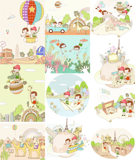 Travel Theme Dream Children Painting Vector material