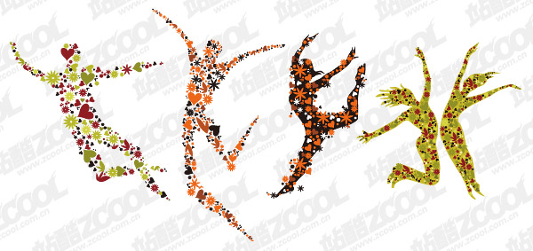 4 flowers composed of people jumping vector material