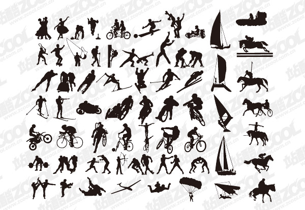 Vector silhouettes of various sports action material -2