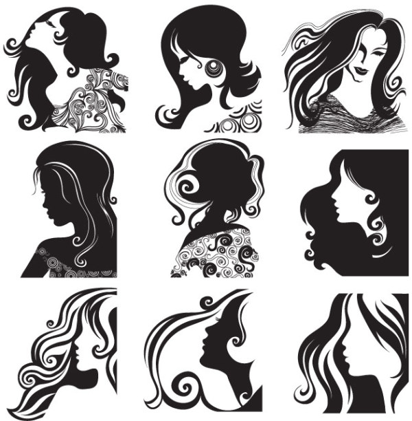 Female head pattern vector material