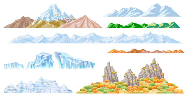 Beautiful mountains vector material