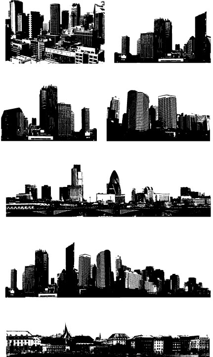 Black and white city building vector material