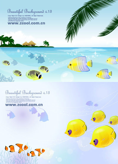 Tropical fish theme vector material