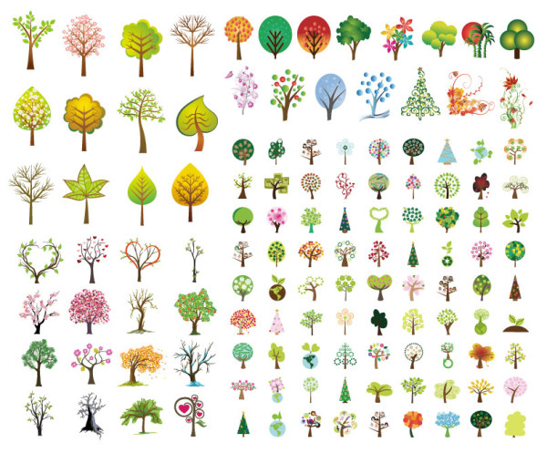 Variety of trees vector material