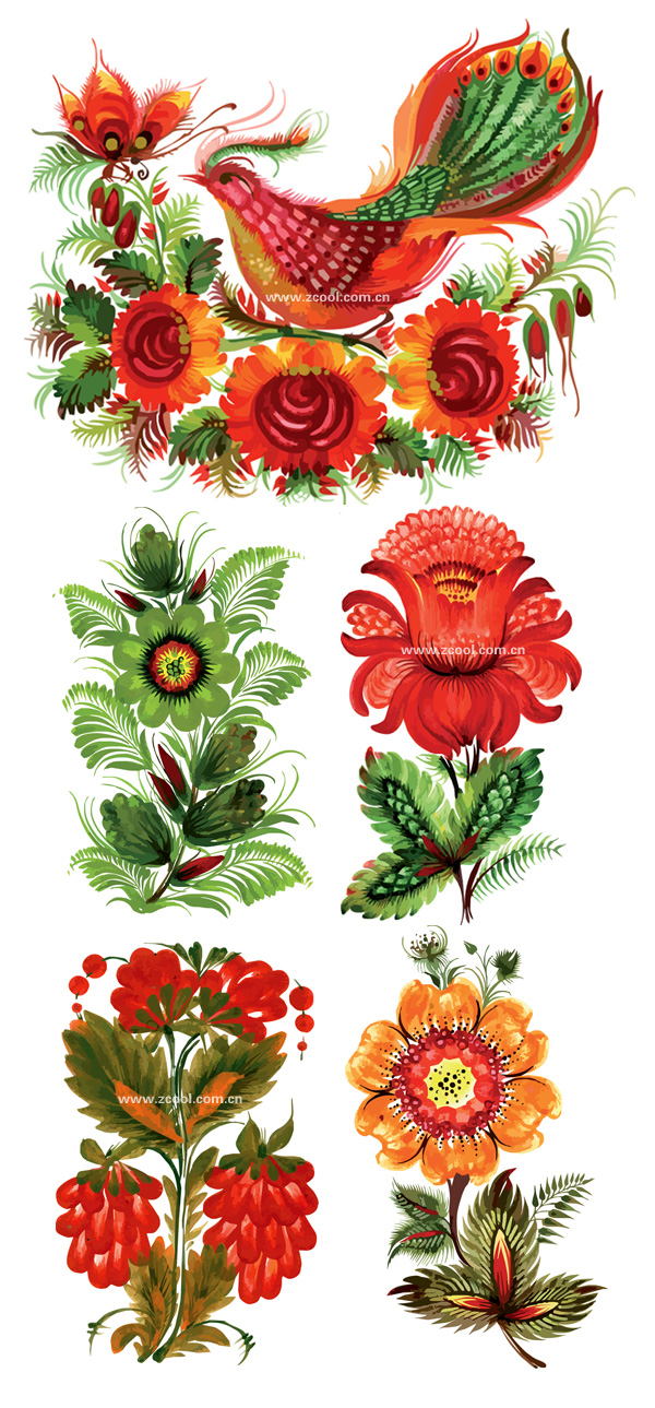 Hand-painted style floral decoration vector material