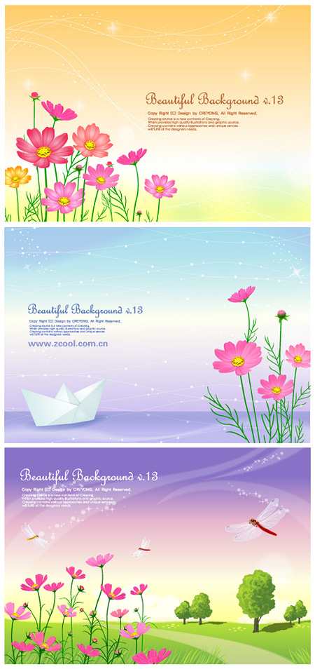 3 cute little daisy and background from the vector material
