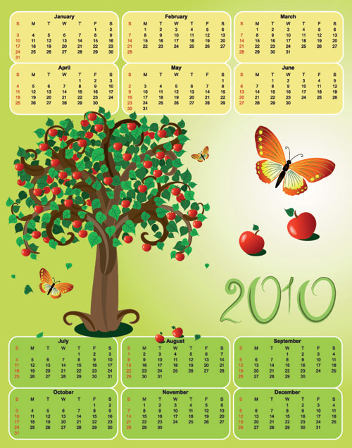 Butterfly theme of the 2010 calendar template vector tree material