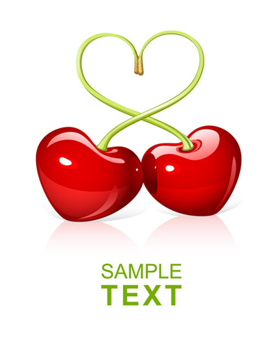 Heart-shaped cherry Vector