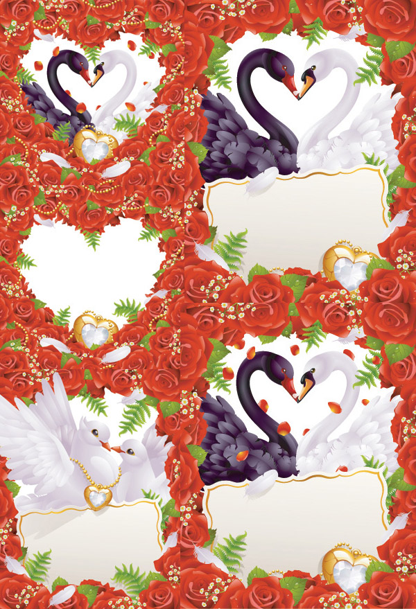 Western-style wedding card vector of material