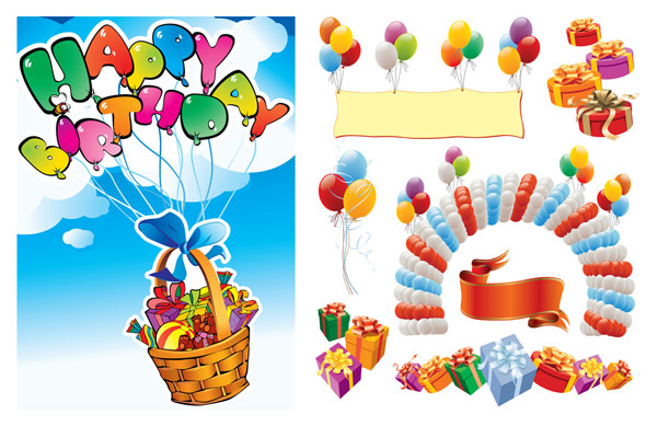 Happy birthday vector source material 2
