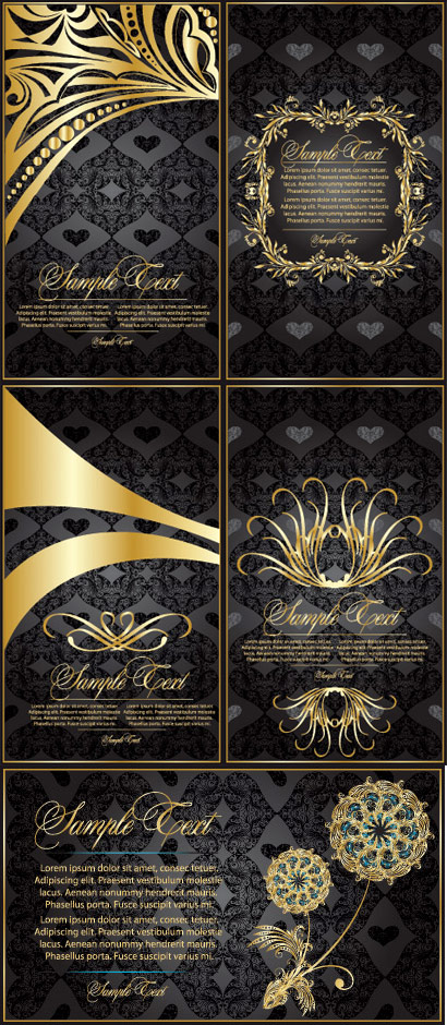 Gold lace pattern vector material