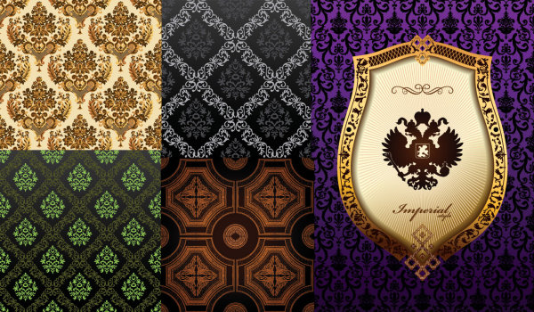Background of ornate classical European pattern vector material