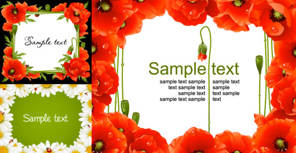 Flower border vector of material