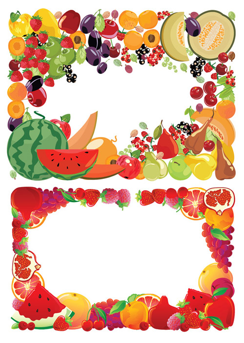 2 Fruit Border Vector