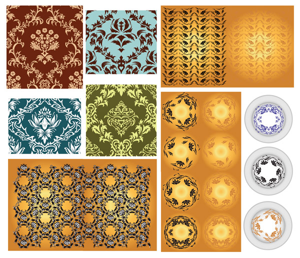 Variety of classical pattern vector material