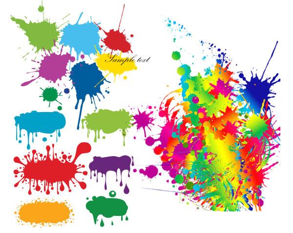 Color ink drops graffiti vector material