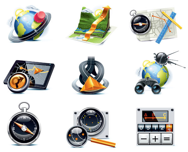 Travelers topic icon vector material