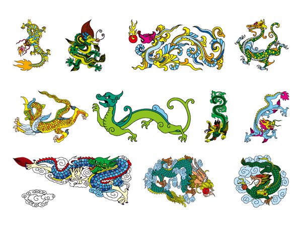 Chinese Classical Dragon nine vector material