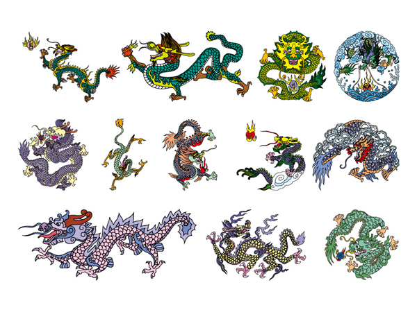 Chinese Classical Dragon Six vector material