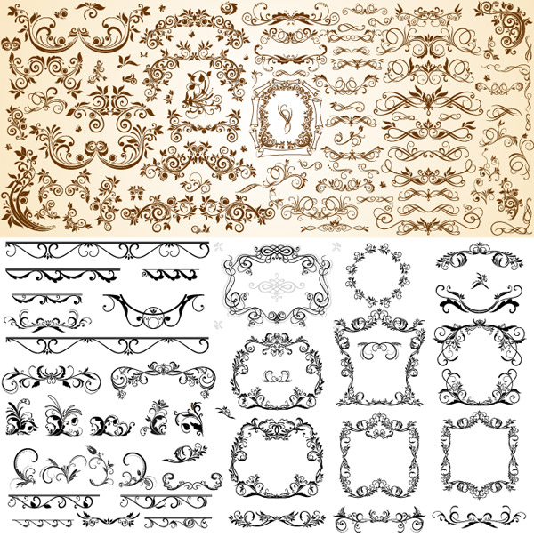 Very useful set of European pattern vector material