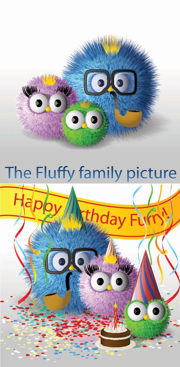 Cute fur ball family of vector material
